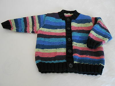 Baby Cardigan, Handknitted, Black/Multi, Size 6 months