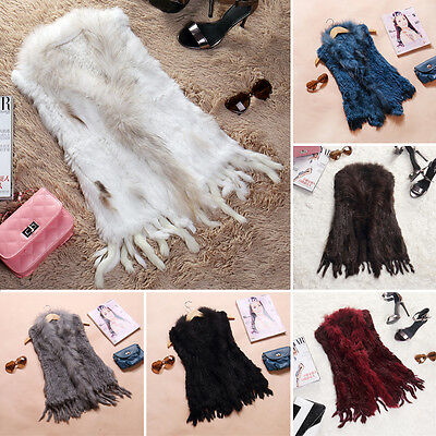Real By Hand Knitted Rabbit Fur Waistcoat/Vest/Gilet with Fur Collar Tassel