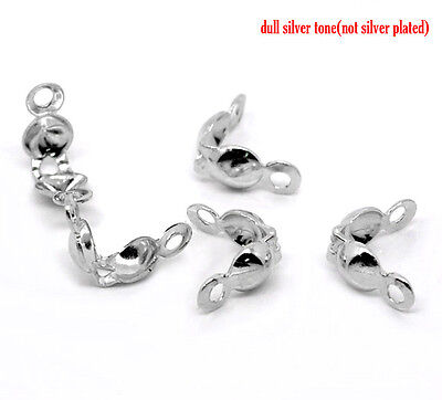 250 SILVER TONE ~4mm x 8mm~ CHARLOTTES/CALOTTES END TIPS~CRIMP/KNOT COVERS (90B)
