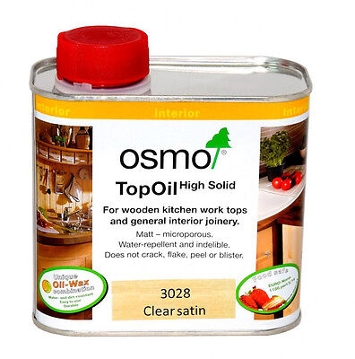 OSMO TOP OIL 3028 CLEAR SATIN for Kitchen Wooden Worktops Internal Joinery 500ml