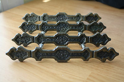 "VINTAGE MEDITERANEAN 4 LARGE DRAWER PULLS 7.25"" CAST BRONZE #736 4 w/SCREWS"