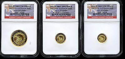 2008 Australian Dolphin Three Coin Gold Coin Set - NGC Gem Proof First Strike