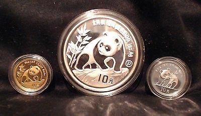 1990 China 3 coin Prestige Proof Set (Gold, Silver, Platinum) with box and COA
