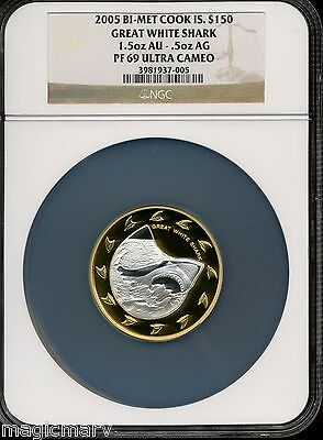 2005 Bi-Metal (gold &silver) Great White Shark Set NGC PR69UC Population Two