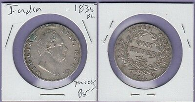 "India-British,1 Rupee Silver Coin 1835-Plain Nice Very Fine Cat#450.1.11""Thick"""