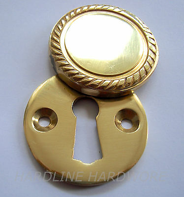 SOLID POLISHED BRASS GEORGIAN COVERED ESCUTCHEONS 37mm + SCREWS