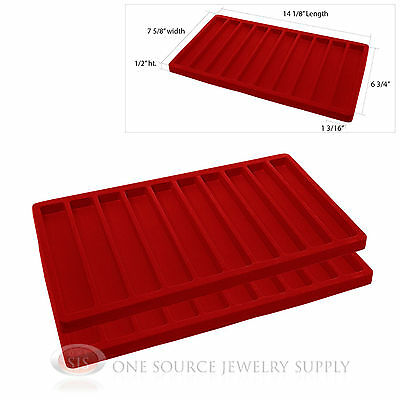 2 Red Insert Tray Liners W/ 10 Slot Each Drawer Organizer Jewelry Displays