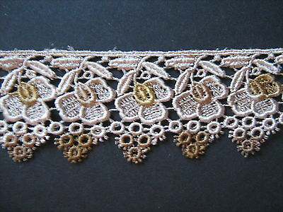 Vareigated Beige/Brown Venise Guipure Lace 1 Metre Sewing/Costume/Crafts/Corset