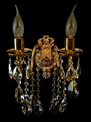 Lead Glass Wall Chandelier Wall Lamp Crystal Available in Gold or Silver