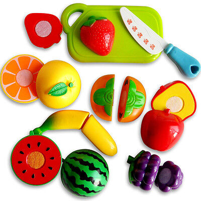 Kids Pretend Role Play Kitchen Fruit Vegetable Food Toy Child Wooden Cutting Set