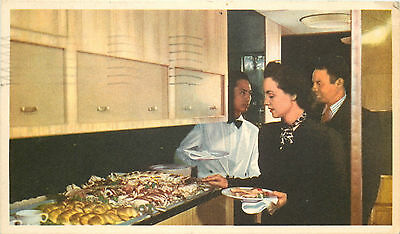 Buffet on the UNITED AIRLINES Mainliner to HAWAII - Great Old Postcard, 1951