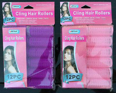 Plastic Self Hold Rollers Grip Cling Hair Curlers MEDIUM Size 12 Pc & 24 Pc