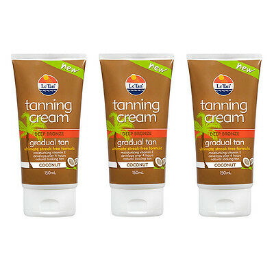 3x 150ml Le Tan Deep Bronze Tanning Cream Lotion Moisturizer Gradual Fake Tan