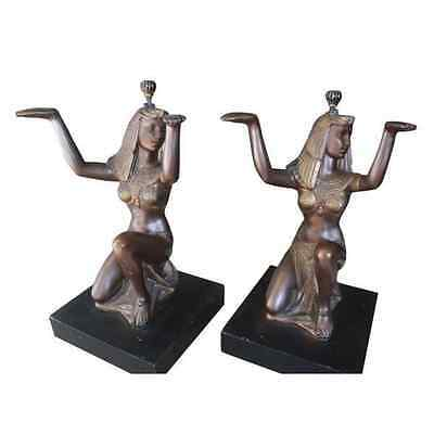 Pair Egyptian Vintage Plaster Moor Pedestals as Two Side or One Coffee Table
