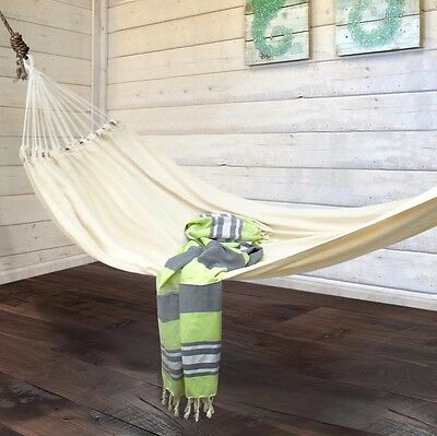 Hammock Natural Cream Heavy Woven + bag  Garden Yard Travel Camping Outdoor