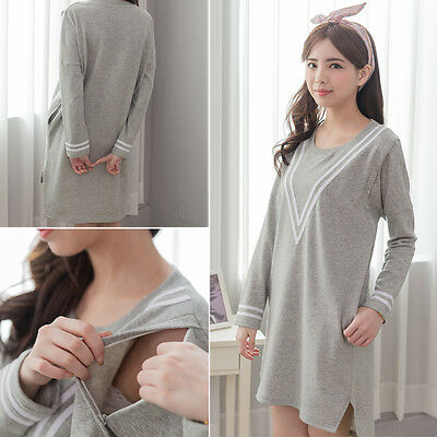 Maternity Clothes Long Sleeve Fall&Winter Breastfeeding Nursing Dress With Tail
