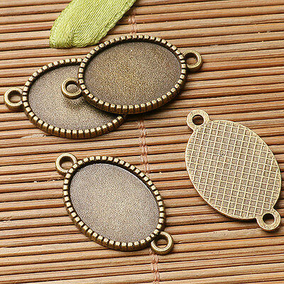 16pcs antiqued bronze color oval cabochon setting in 18x13mm connector  EF3044