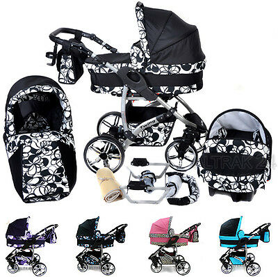 Baby Pram Stroller Buggy Pushchair Travel System Twing 3in1 FREE ACCESSORIES