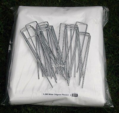 1.5M x  20M 35gsm Frost Fleece + 20 Metal U shaped pegs for Allotments Gardens