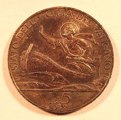 1932 Vatican City Five 5 Lire Coin   (4274)