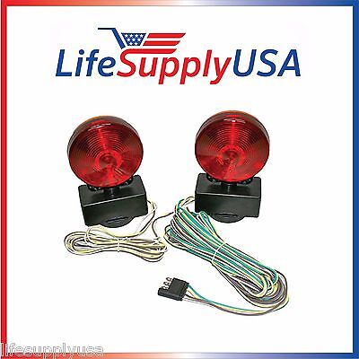 12V Volt 3 In 1 Magnetic Towing Tow Light Kit Trailer Truck Tail Brake Signal