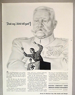 Electric Companies PRINT AD - 1943 ~~ Adolf Hitler, Paul Von Hindenburg