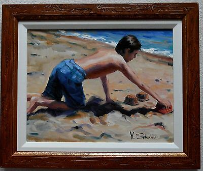 Vincent Silvano Original Oil Painting On Canvas Sand Castle Signed W/coa Framed