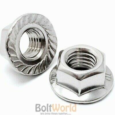 M5 / 5mm A4 MARINE GRADE STAINLESS STEEL HEXAGON HEX FLANGE SERRATED NUT NUTS