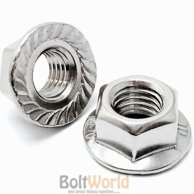 M6 / 6mm A4 MARINE GRADE STAINLESS STEEL HEXAGON HEX FLANGE SERRATED NUT NUTS