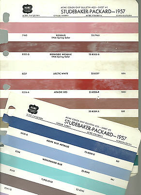 vintage 1957 STUDEBAKER PACKARD Color Chip Paint Sample Brochure / Chart: Acme