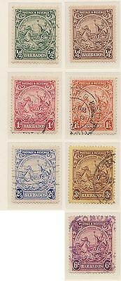 (ZL-75) 1925 Barbados 7mix ¼d to 6d postage mint/used
