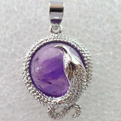 Beautiful Silver Plated Snake Wrapped Natural Amethyst Pendant Bead XLZD-404