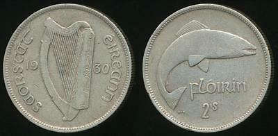 Ireland, Republic, Free State, 1930 Florin (Silver) - Very Fine