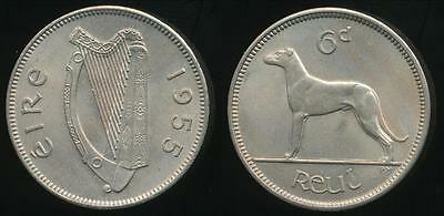 Ireland, Republic, 1955 Sixpence, 6d - Uncirculated