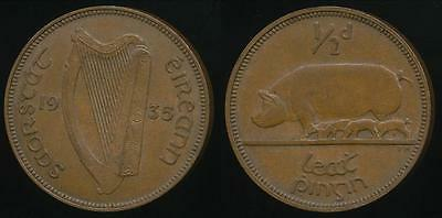 Ireland, Republic, Free State, 1935 Halfpenny, 1/2d - Extra Fine