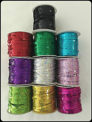 5m Sequin String Trim Braid Lace 6mm Hologram Flat Sewing Craft Dance Costumes
