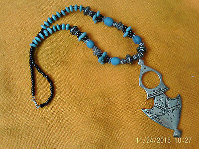 Moroccan Berber Jewelry Ethnic Necklace: Dramatic pendant turquoise beads NEW