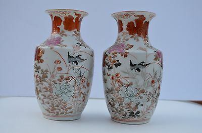 Antique Pair Of Fine Quality Hand Painted Japanese Flower Vases Maker Signed