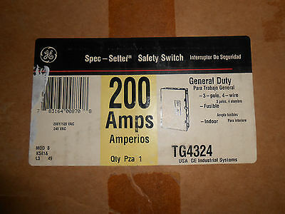 Ge Tg4324 Safety Switch 200 Amp 208Y/120 Volt Disconnect