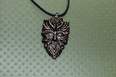 BRASS Celtic GREENMAN God  Necklace Wicca Pagan Lord of Growing Things