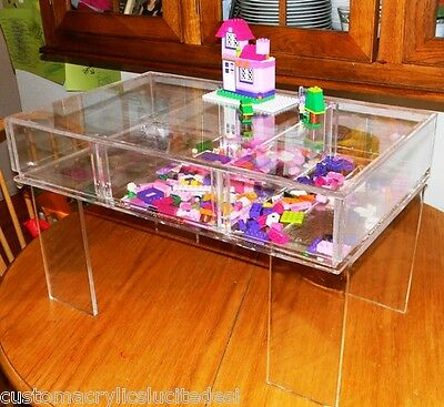 Children's Lego Puzzle Activity Craft Lucite Acrylic Tray Table - Custom sizing