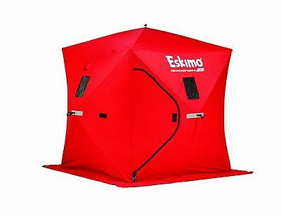 QuickFish 2 Pop-up Portable Ice Fishing Shelter Shack, Red, Self Tapping Anchors