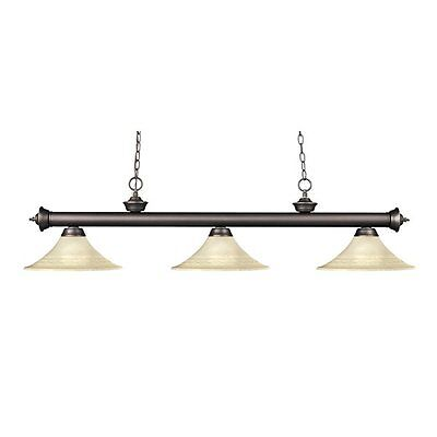 Z-Lite 200-3OB-FGM16 Riviera 3 Light Billiard Light with Fluted Glass Shades