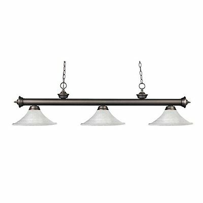 Z-Lite 200-3OB-FWM16 Riviera 3 Light Billiard Light with Fluted Glass Shades
