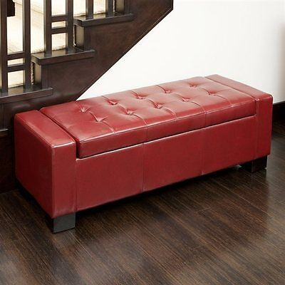 Best Selling Home Decor 263198 Guernsey Bonded Leather Storage Ottoman Bench
