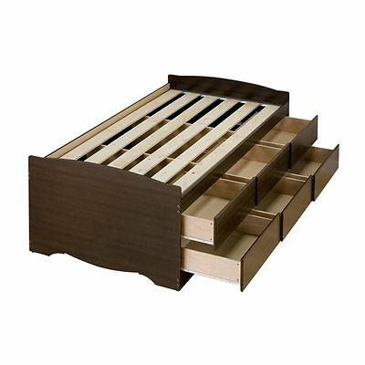 Prepac Furniture EBT-4106-K Tall Twin Captain's Platform Storage Bed with Six Dr