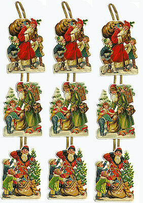 Victorian SANTA CHRISTMAS CARD s(Lot of 3) HANGING Rare NOS Embossed Diecut WOW!