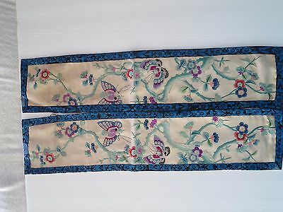 Antique Chinese silk embroidered  pair of sleeve bands