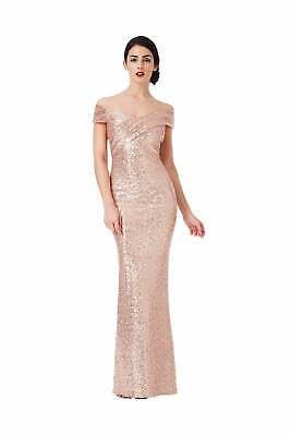 Long Gold Sequin Diamante Halterneck Maxi Formal Prom Party Dress  8-14(Was £79)