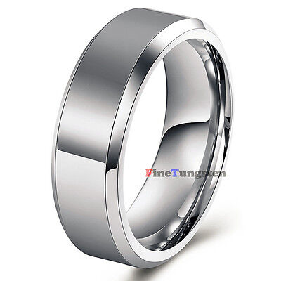 8mm White Comfort Fit Tungsten Ring High Polished Mens Classic Wedding Band